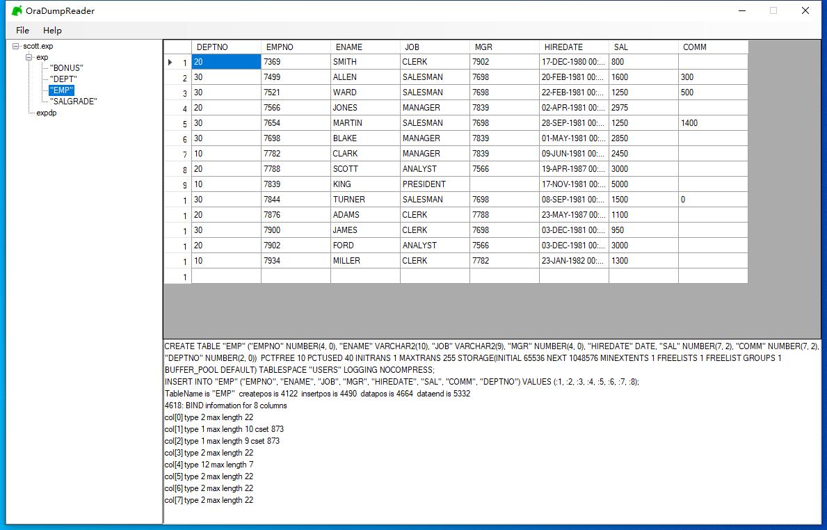 Oracle expdp/exp dump备份文件恢复工具OraDumpReader截图1