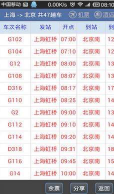 路路通列车时刻表截图