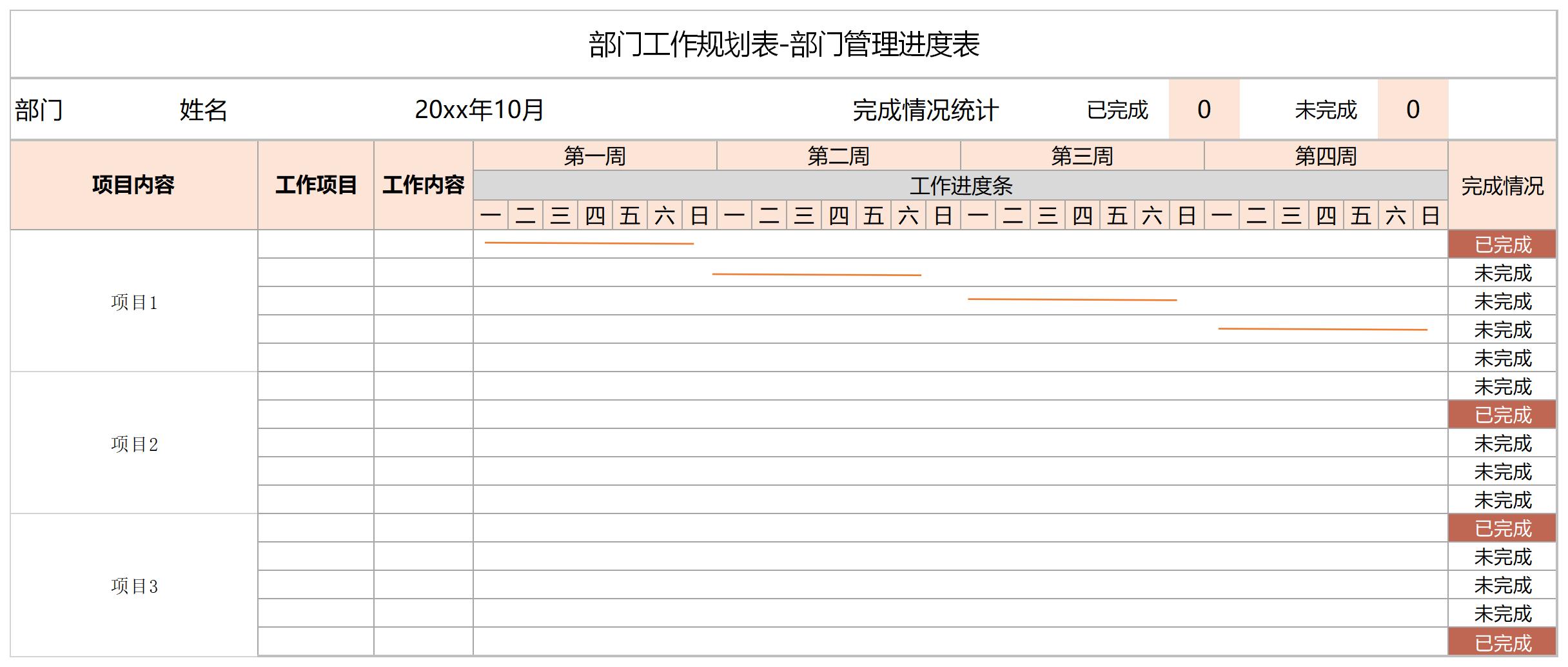 部门工作规划表截图