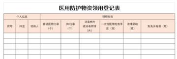 医用防护物资领用登记表截图1