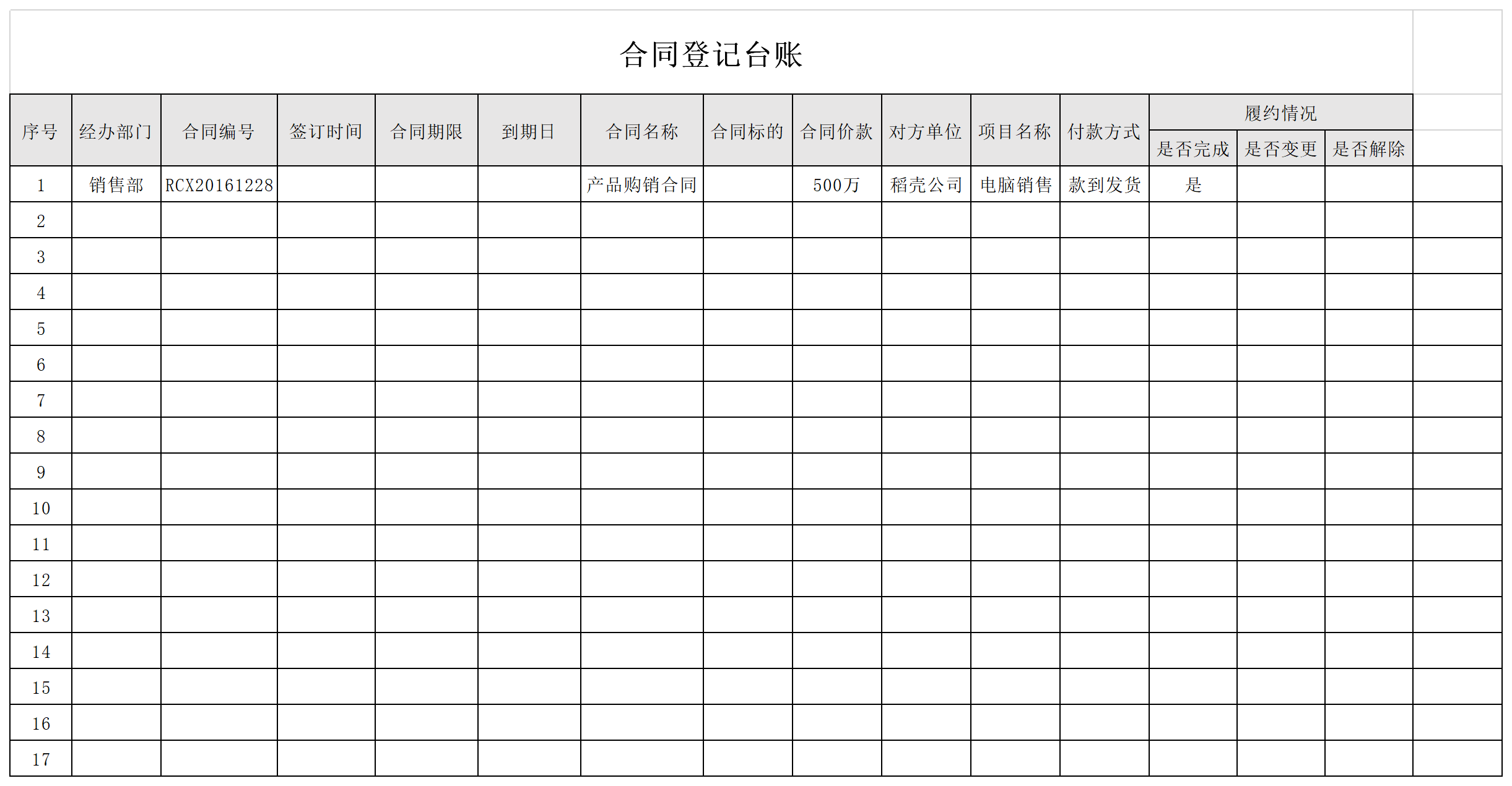 合同登记台账截图