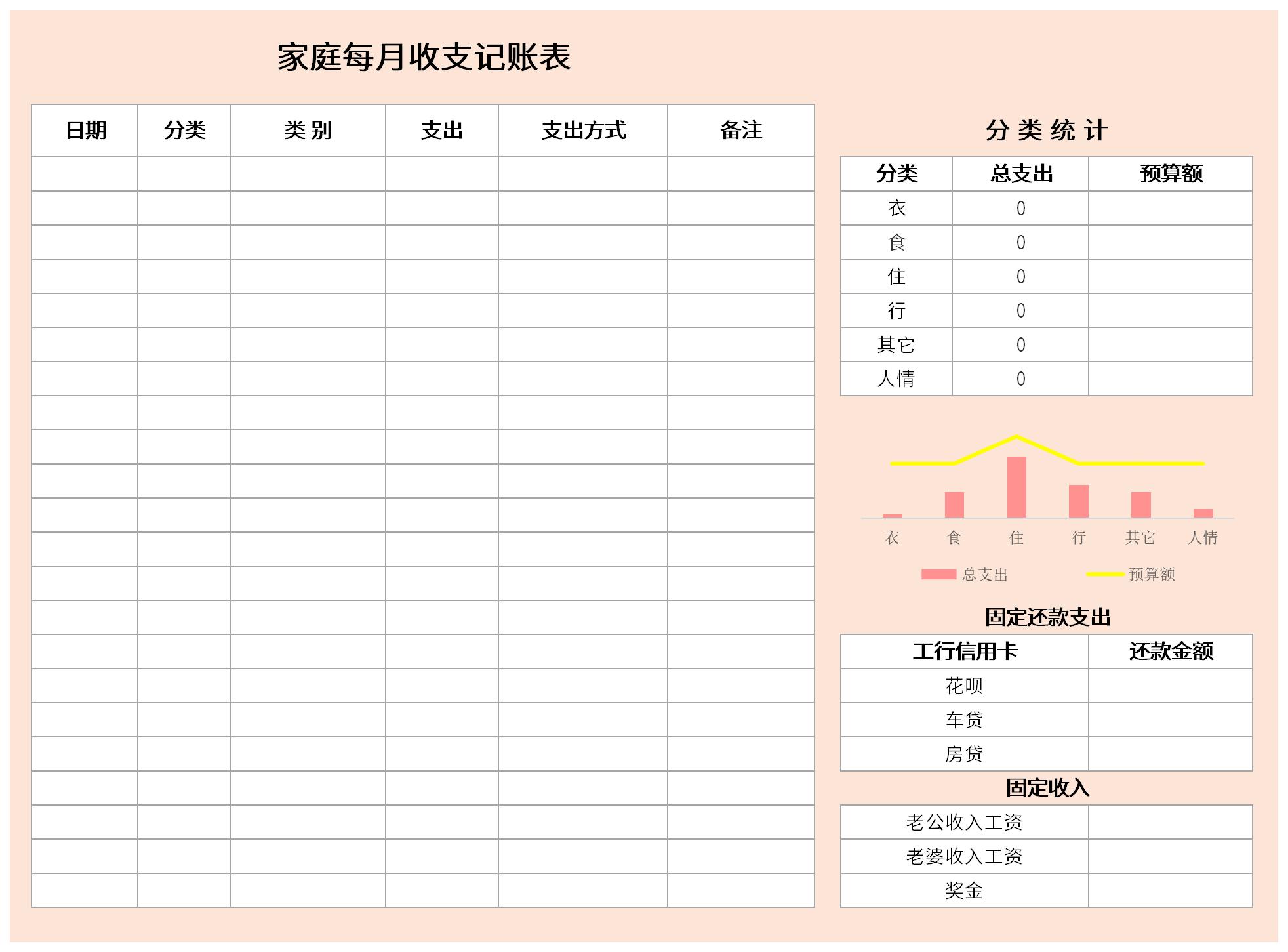 家庭每月收支记账表截图