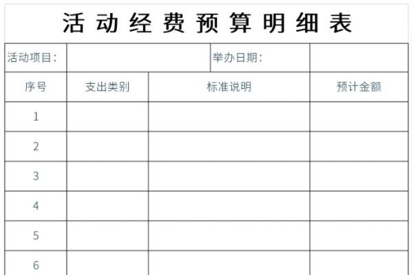 活动经费预算明细表