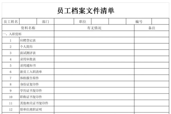 员工档案清单表截图1