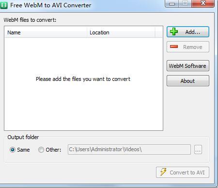 Free WebM to AVI Converter截图1