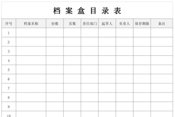 档案盒目录表