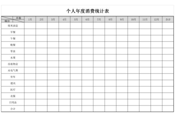 个人年度消费统计表