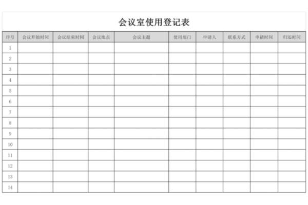 会议室使用登记表截图1