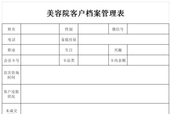 美容院客户档案管理表