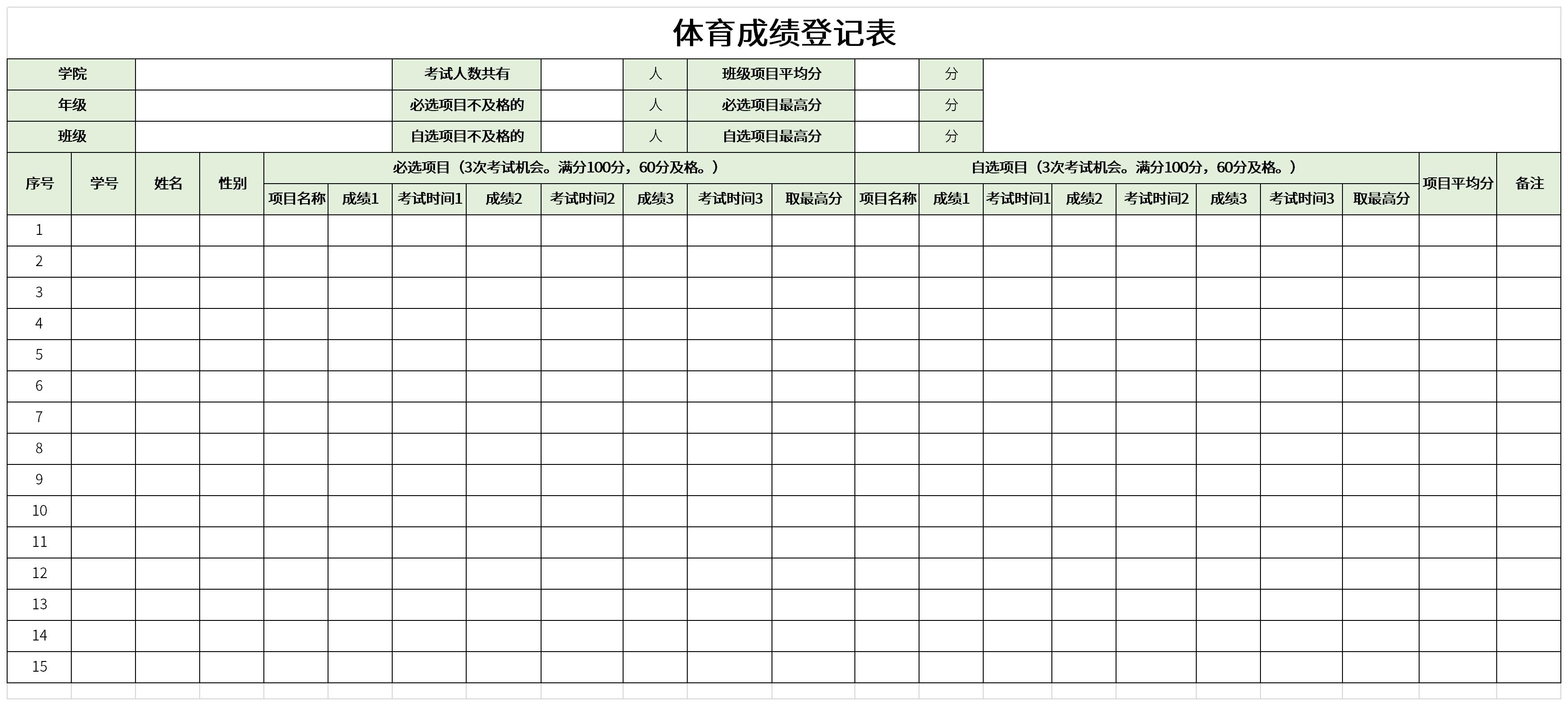 体育成绩登记表截图