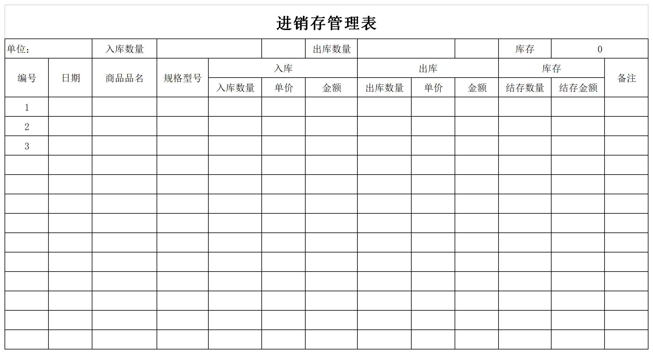 进销存管理表截图
