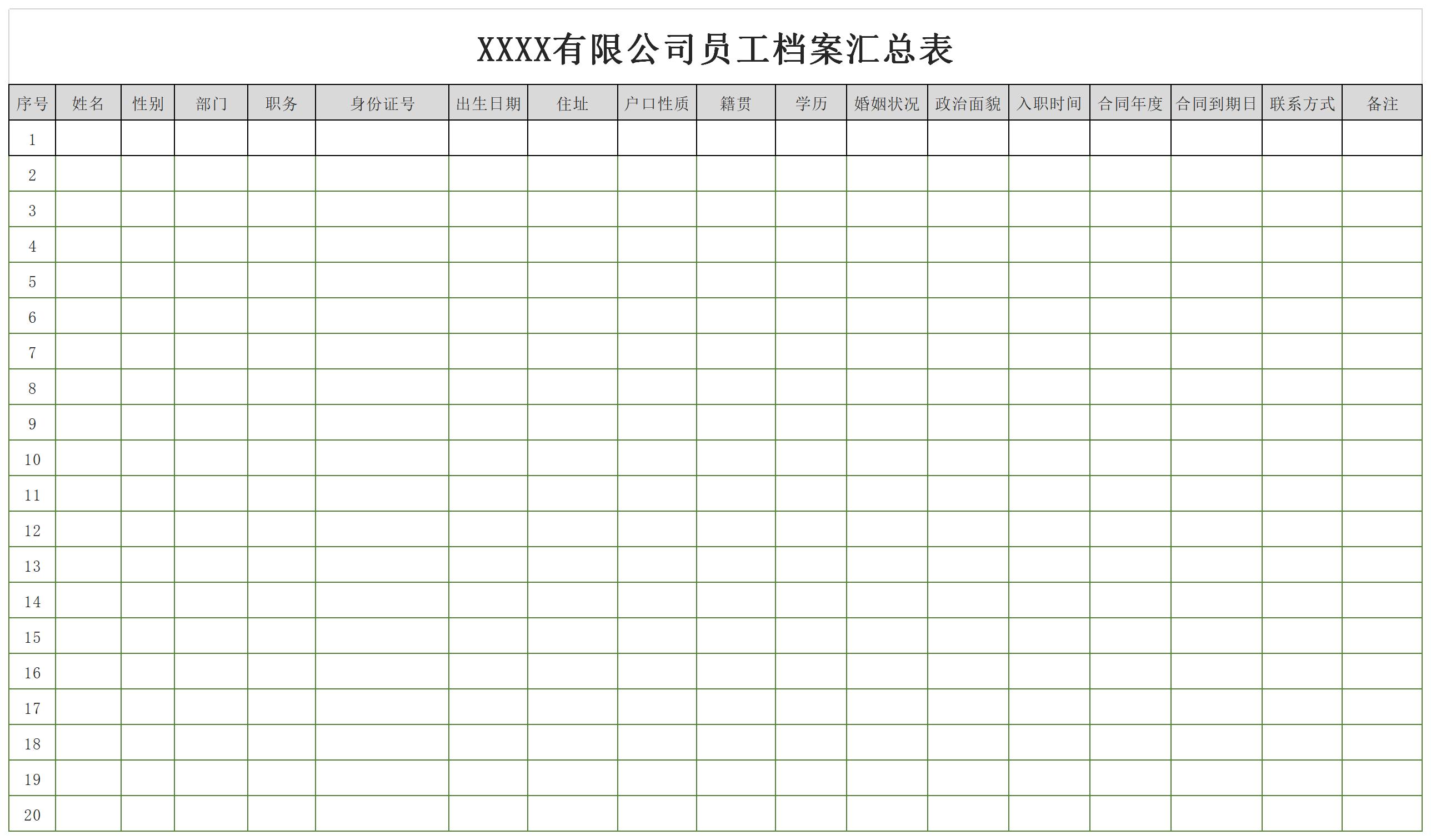 员工档案汇总表截图