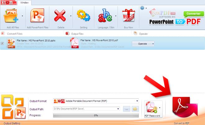 FoxPDF PowerPoint to PDF Converter截图