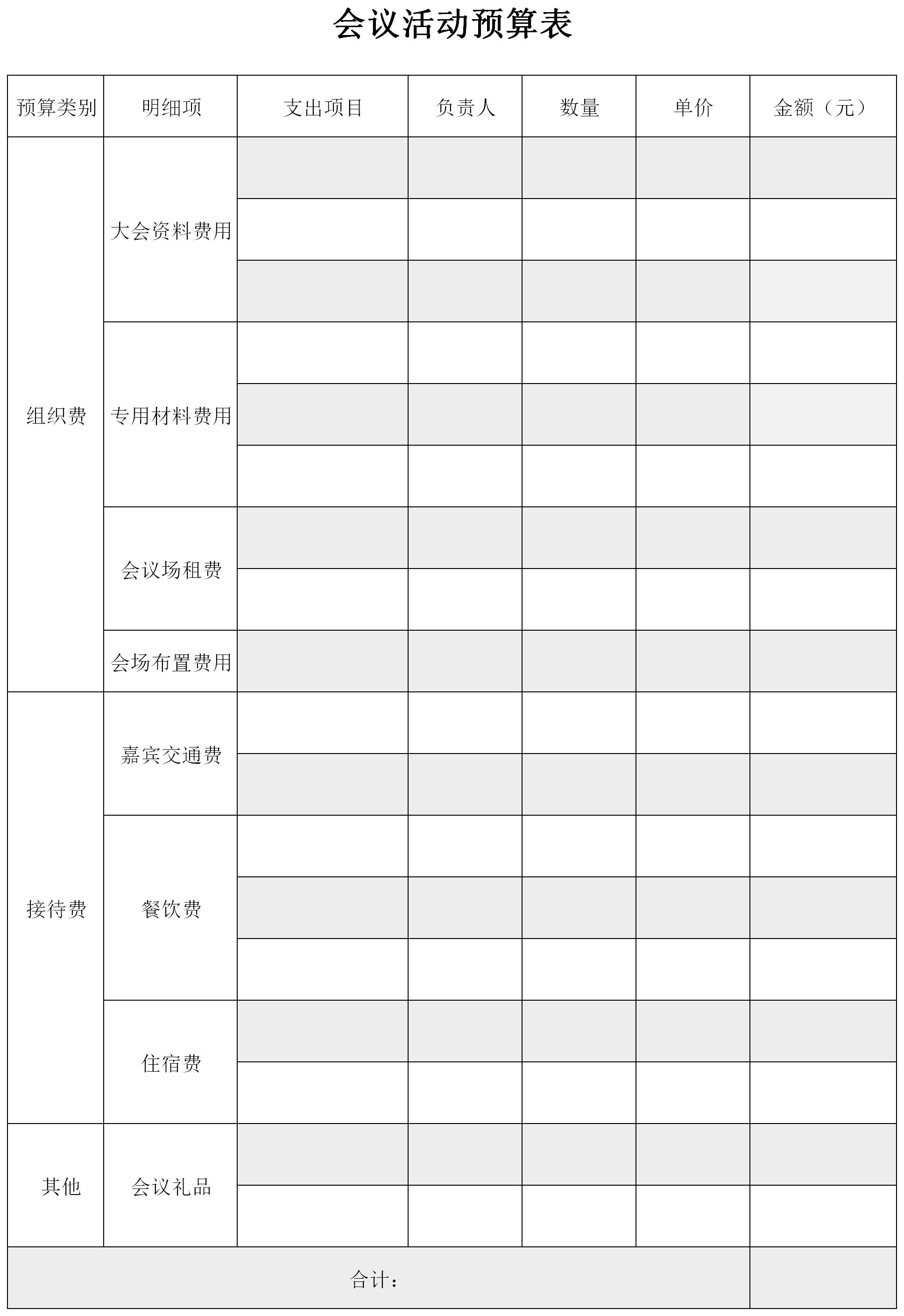 会议活动预算表格截图