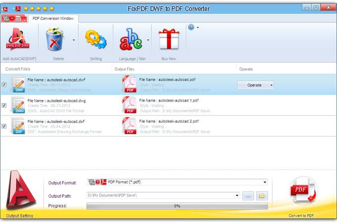 FoxPDF DWF to PDF Converter截图