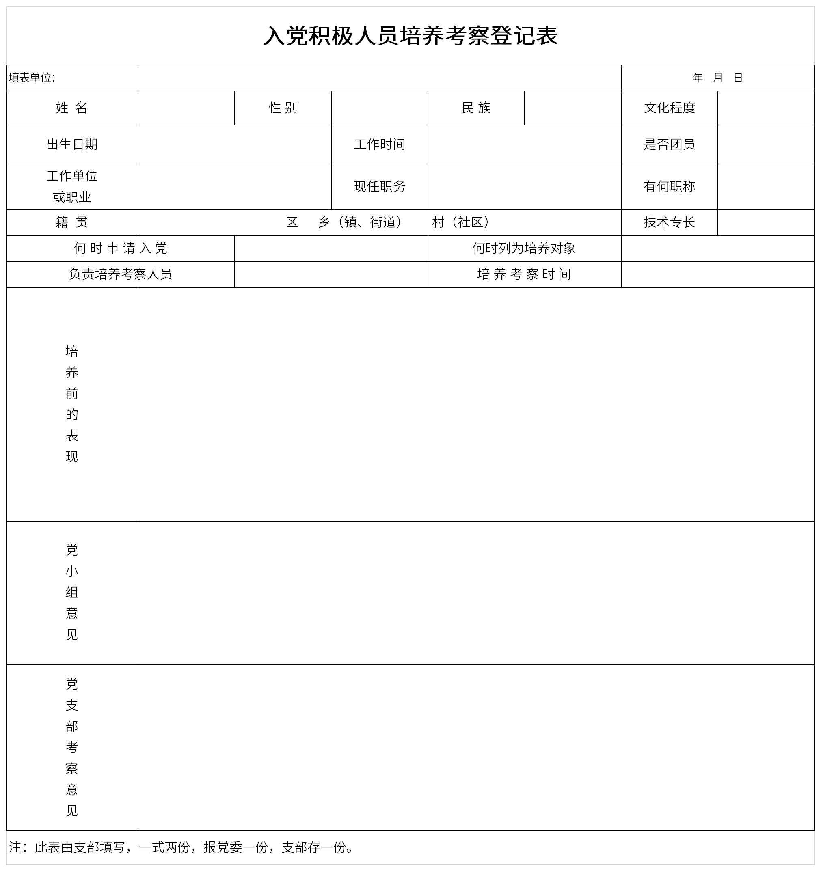 入党积极人员培养考察登记表截图