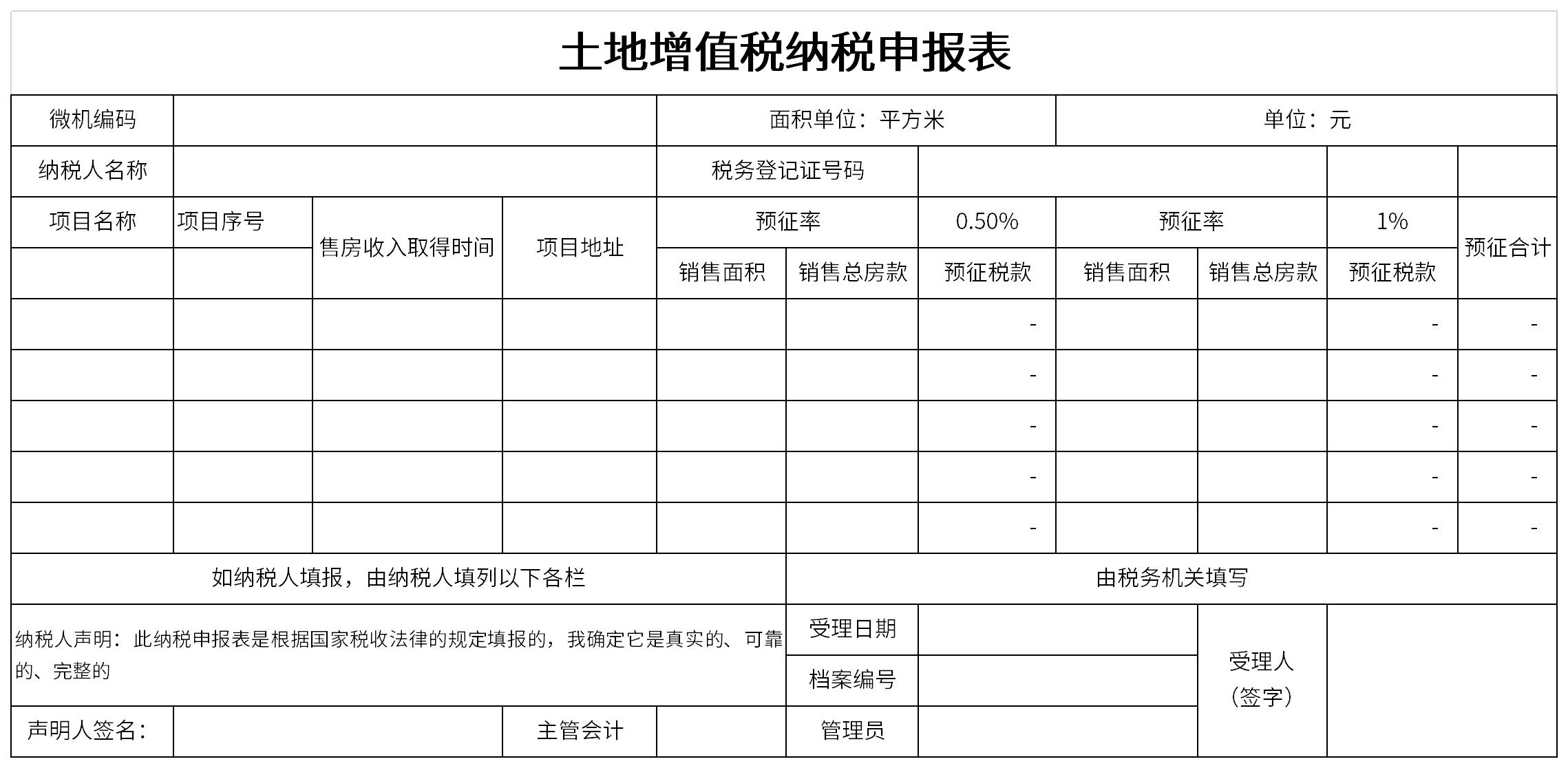 土地增值税纳税申报表截图