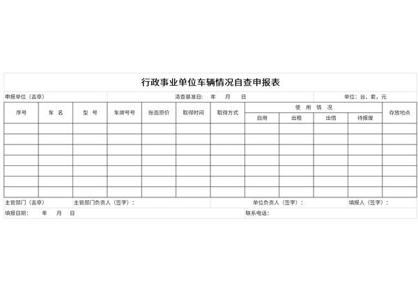 行政事业单位车辆情况自查申报表
