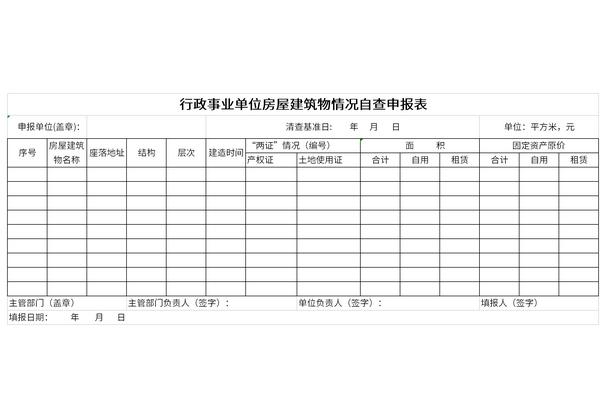 行政事业单位房屋建筑物情况自查申报表