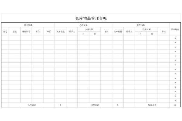 仓库物品管理台账截图1