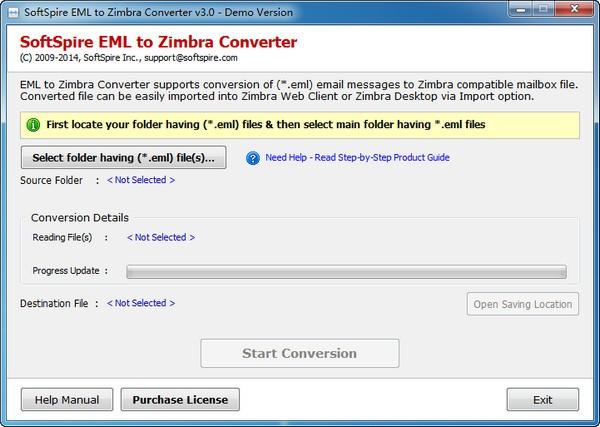 SoftSpire EML to Zimbra Converter截图1