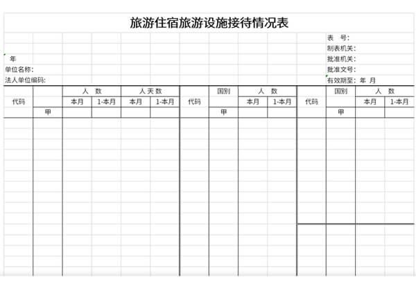 旅游住宿旅游设施接待情况表截图1