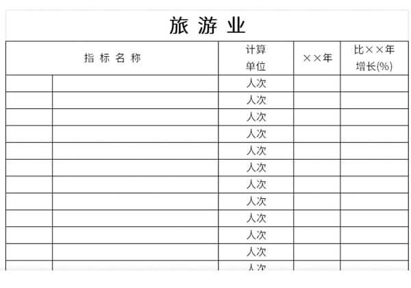 旅游业指标核算表截图1