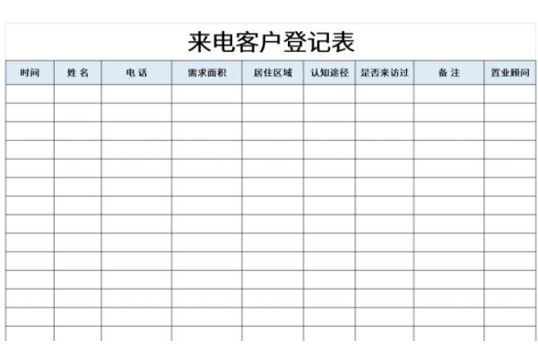 来电客户登记表截图1