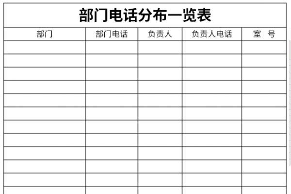 部门电话分布一览表截图1