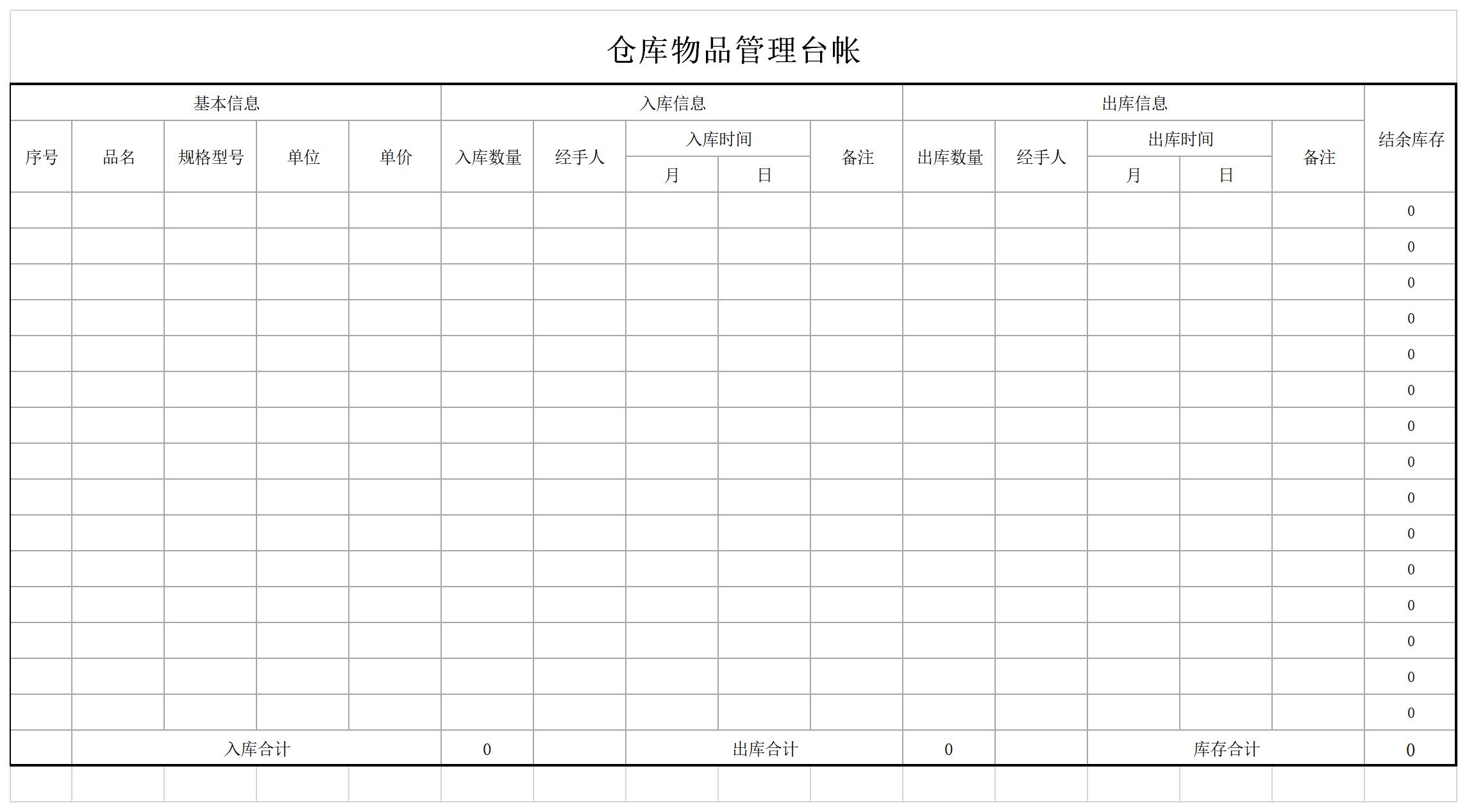 仓库物品管理台账截图