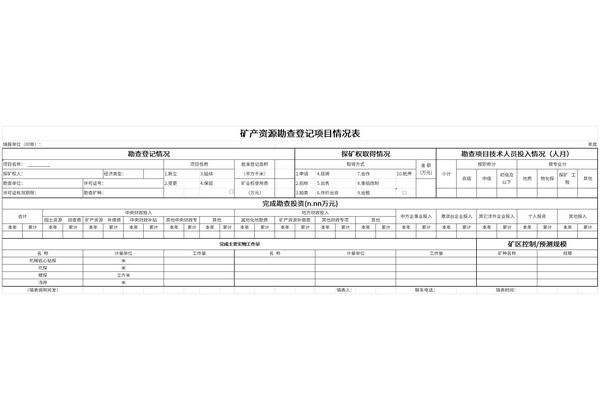 矿产资源勘查登记项目情况表截图1