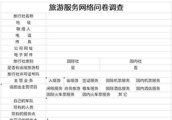 旅游服务网络问卷调查表截图1
