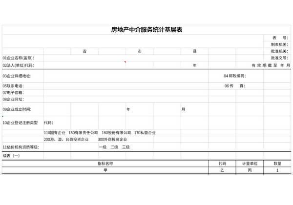 房地产中介服务统计基层表