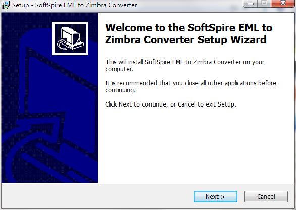 SoftSpire EML to Zimbra Converter截图