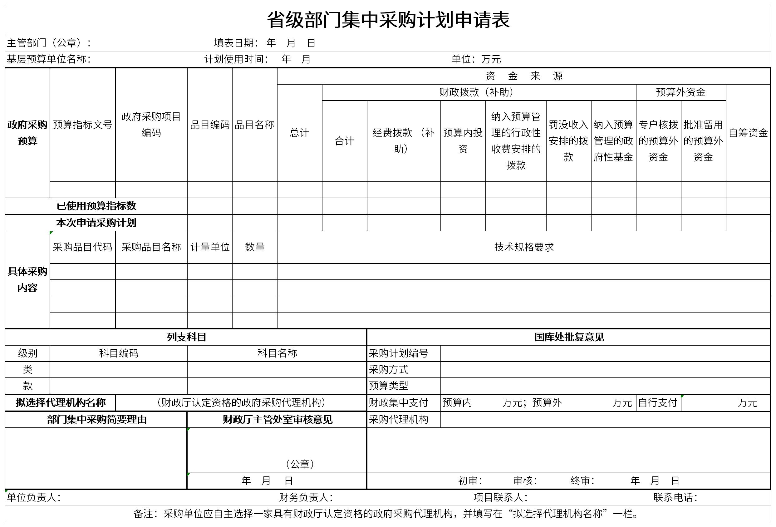 省级部门集中采购计划申请表截图