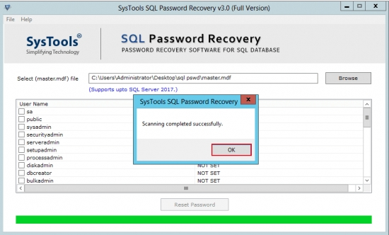 SysTools SQL Password Recovery截图