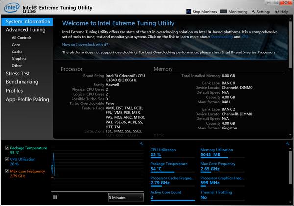 英特尔XTU超频工具截图