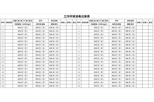 工作环境消毒记录表截图1