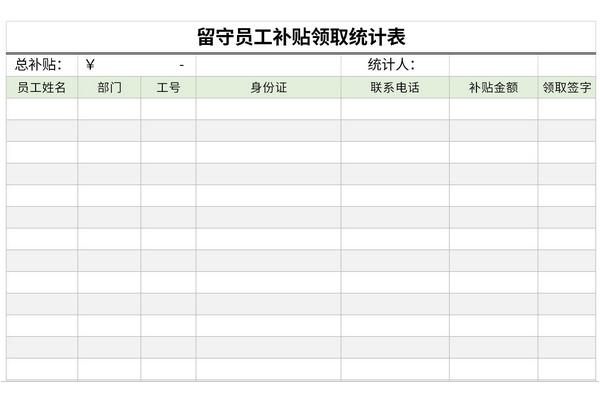 留守员工补贴领取统计表截图1