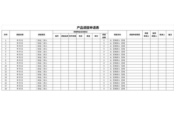 产品调拔申请表截图1