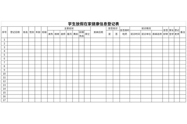 学生放假在家健康信息登记表截图1