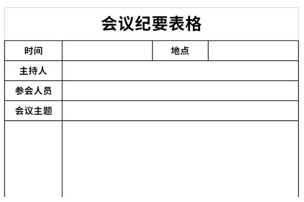 会议纪要表格截图1