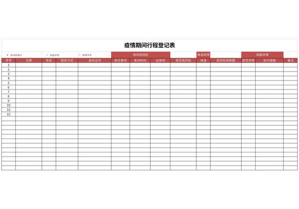 疫情期间行程登记表截图1