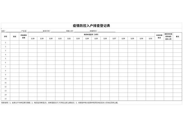 疫情防控入户排查登记表截图1