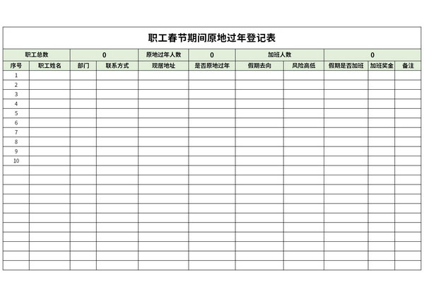 职工春节期间原地过年登记表截图1