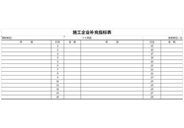 施工企业补充指标表截图1