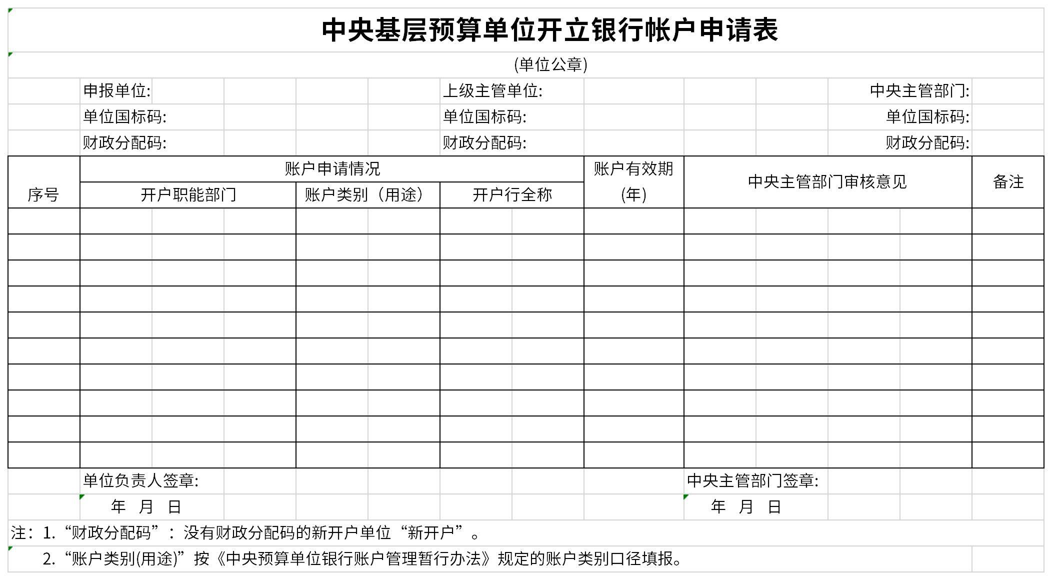 中央基层预算单位开立银行帐户申请表截图