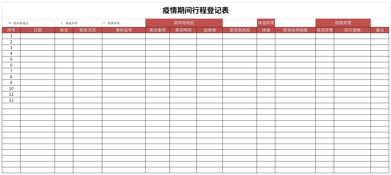 疫情期间行程登记表截图
