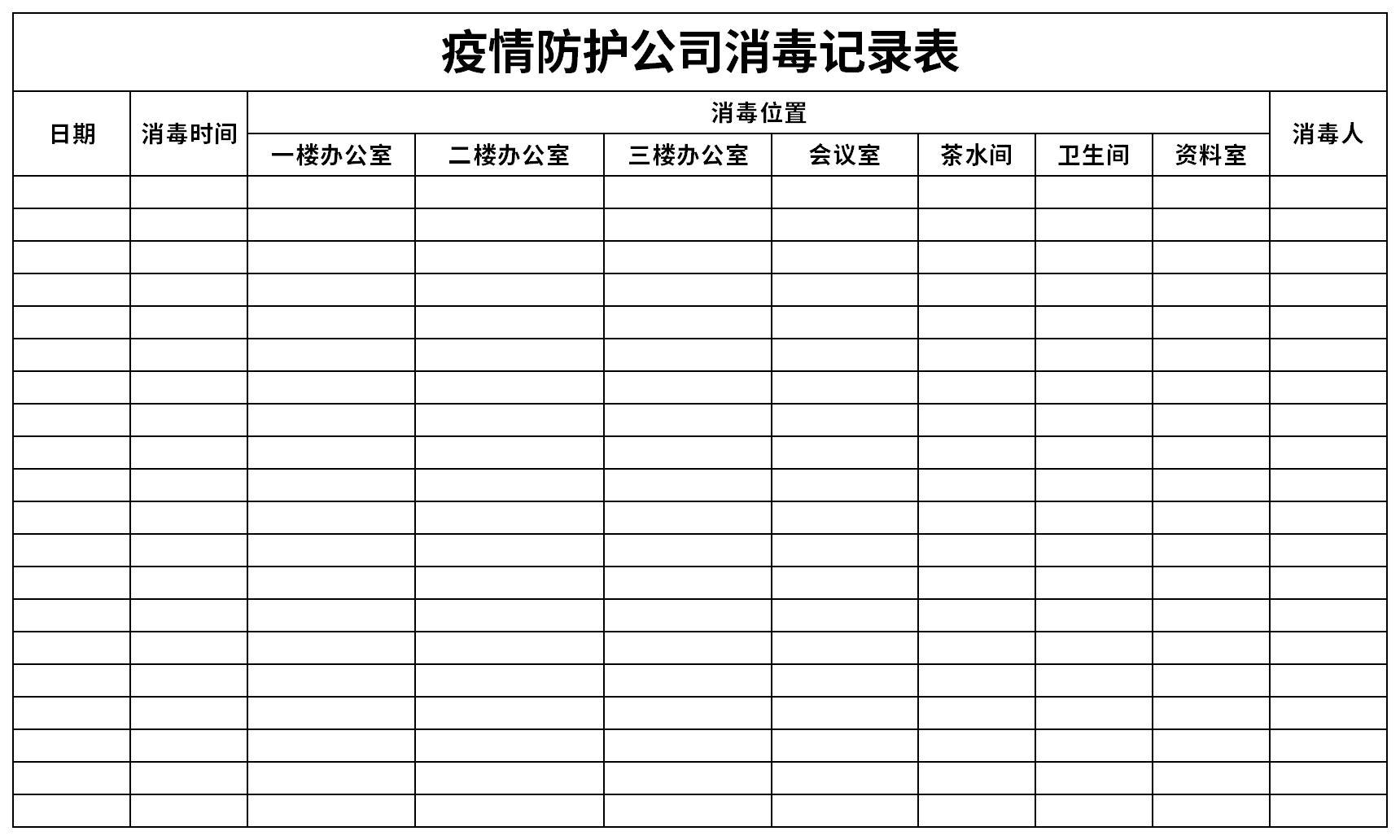 疫情防护公司消毒记录表截图