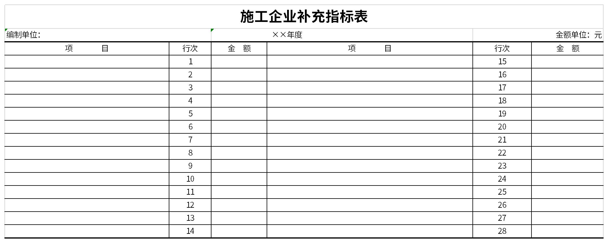 施工企业补充指标表截图